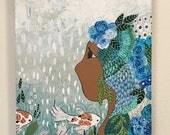 Rain-Original Painting on Reclaimed Wood by Sereen Gualtieri
