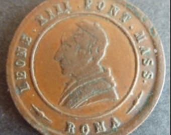 Interesting Old Bronze Religious Medal Of Pope Leo XIII. Dated 1887. Nice Condition