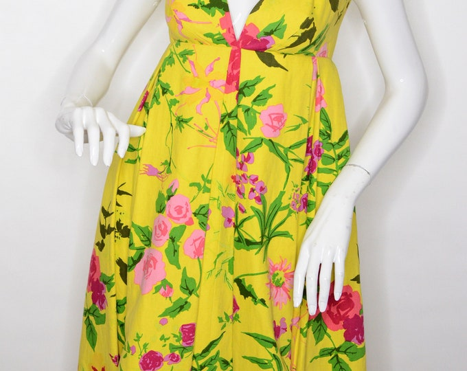 Pauline Trigere Julius Garfinkel & Co Vintage Estate Raw Silk Empire Wist Maxi Yellow Pink Green Floral Dress