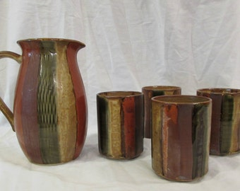Sake or Tea Set, Pitcher With Four Cups, Kelvins Exclusives, Japan, Brown and Earth Tones, 1970's