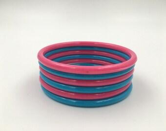 Vintage Pink and Blue Bangle Bracelets - Plastic - Set of 6 - 3 Blue - 3 Pink Bangles