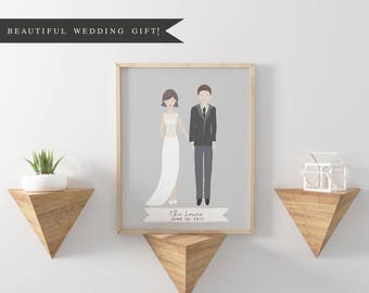 Printable | Custom Wedding Couple Portrait | Custom Portrait Save The Date Card | Guest Book | Wedding | illustration | Bride | Invitations
