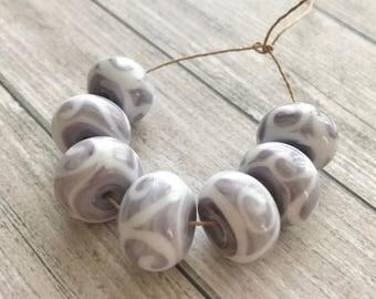 Organic Lampwork  handmade glass bead - Purple white lampwork focal bead - Rustic  beads