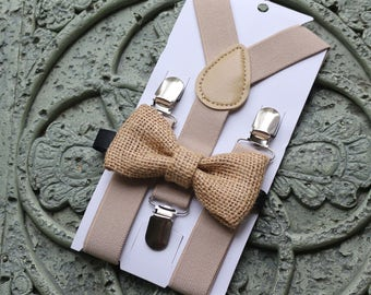 Tan,cream,khaki, Kids Boys Baby,Suspenders+burlap bow tie 6months 2T,3T,4T-5T,wedding,Ring bearer