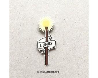 Harry Potter Pin Lumos Spell Badge Brooch Hogwarts Wizard Shrink Plastic
