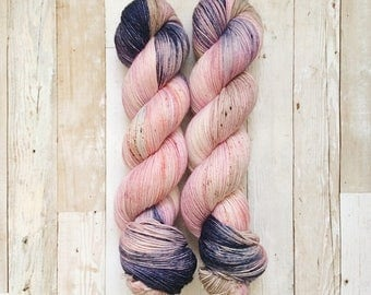 dyed to order - sestra allison | choose your base | hand dyed yarn | pink blush peach navy speckled | orphan black inspired
