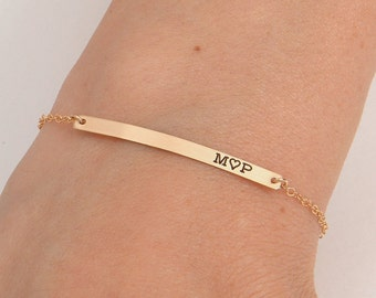Gold Bar Bracelet, Bar Bracelet, Name Engraved Bracelet, GOLD, ROSEGOLD, SILVER, Bridesmaid Jewelry, Nameplate Bracelet, Valentines Day