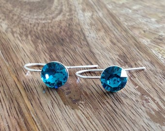 Handmade Sterling Silver Swarovski Crystal Earrings- Blue Zircon, Crystal Earrings, Silver Earrings, Crystal Drop Earrings, Silver Jewellery