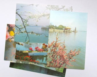 Vintage set of unused Chinese postcards: 20 various scenes. Collectible ephemera or use in craft, scrapbook, travel journal, collage PC153