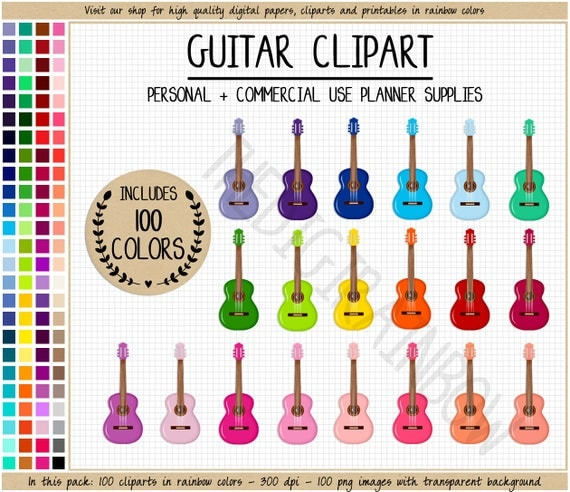 SALE 100 GUITAR Clipart Rainbow Guitar Stickers Lesson Instrument Music Printable Planner From TheDigiRainbow