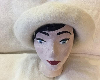 Cream wool felted hat with cord