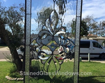 Stunning Traditional Clear Beveled Stained Glass Window (We do custom work, email for a quick quote)