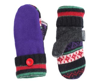 Purple Wool Mittens for Women Fleece Lined Upcycled Sweaty Mitts Recycled Wool Red Green Gray Black Made in Wisconsin SweatyMitts