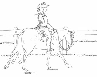 western pleasure lope digital coloring page - Western Horse Coloring Pages