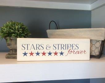 Patriotc Decor, Stars and Stripes Forever, Patriotic Wood Block