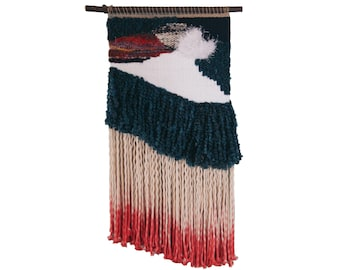 desert raven / wall hanging weaving tapestry with tassels / textile art