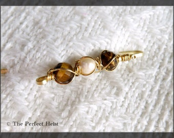 Shawl Pin, Gold, Tiger Eye, Pearl, Wire Wrapped