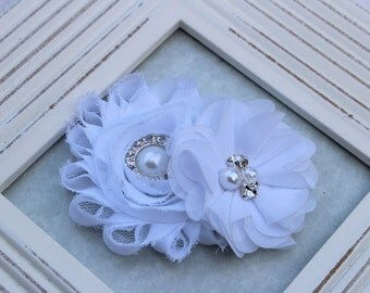 White flower girl hair clip, white girls hair clips, white headband, white birthday hair clips, white hair bows, girls hair accessory white