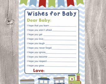 Printable Wishes for Baby, Train Baby Blue Chevron, Instant Download, Baby Shower Games, Advice for Baby, Train Wishes for baby Boy
