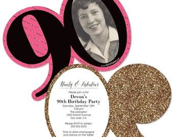 Chic 90th Birthday - Pink, Black, and Gold Invitations - Personalized Birthday Party Age-Shaped Invites - Set of 12