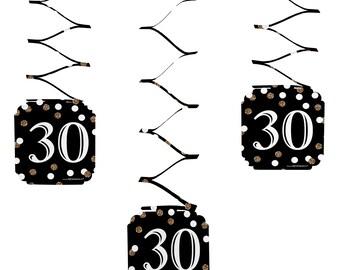 30th Birthday Hanging Decorations - Adult 30th Birthday - Gold Hanging Party Decorations - Set of 6