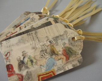 VINTAGE TAGS / Original print / Hand made / Tags / Labels / Set of 10