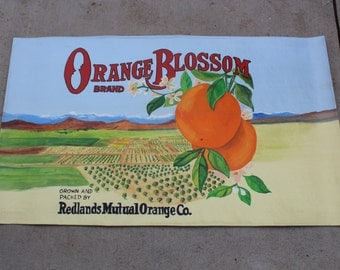 Canvas floor cloth. Picture is from a vintage orange crate label. #2