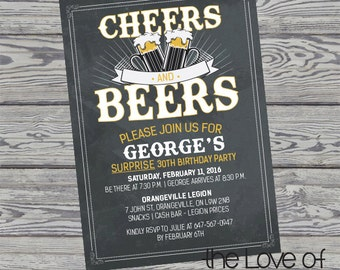 Cheers and Beers Birthday Invite