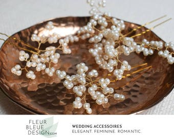 wedding pearl headpiece | beaded headpiece | wedding hair pins | bridal hair pins | pearl hair pins | bridal hairpiece | gold hair pins