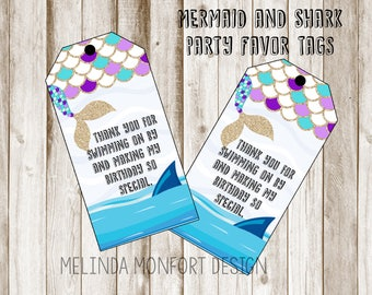 Party Favor Tags, Mermaid and Shark Party Favors, Mermaid birthday printables, Mermaid Party, Shark Party, Printables, DIGITAL FILE ONLY