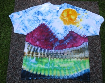 tie dye shirt, mountains are calling, mountain art, nature art, earth day shirt