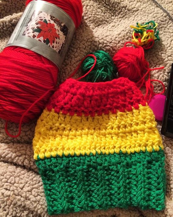 Messy Bun Hat in Rasta Colors for Women