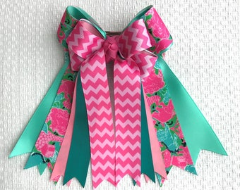 Hair Bows 4 Shows/Teal Pink Lilly Inspired Equestrian clothing/Ready2Mail with elastic loopx