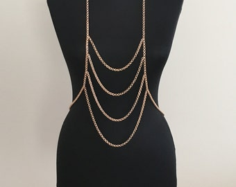 Rose gold body chain , body necklace, body jewelry, long necklace