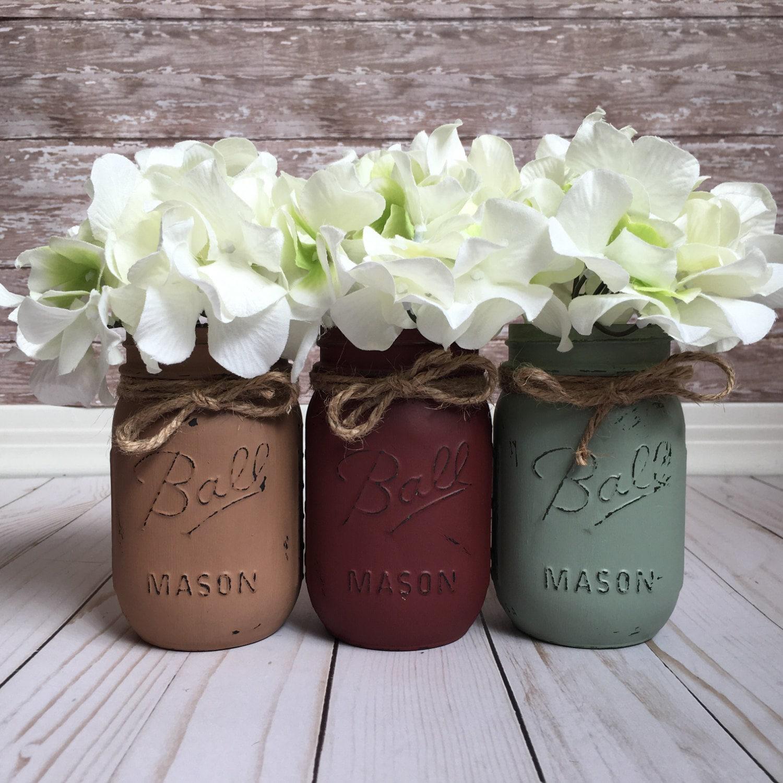 Rustic mason jar set home decor painted jars