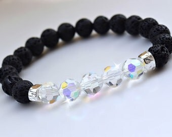 Crystal, Lava Stone Healing Diffuser Bracelet/Chakra/Yoga Bracelet/Crystal/Essential Oils