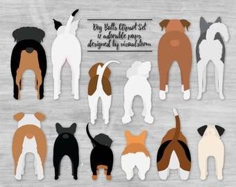 Dog Butt Clipart Cute Pet Butts Funny Puppy Dog Clipart Pitbull Corgi Doxy Husky Boxer Beagle Poodle Bulldogs Basset Pug Rottweiler