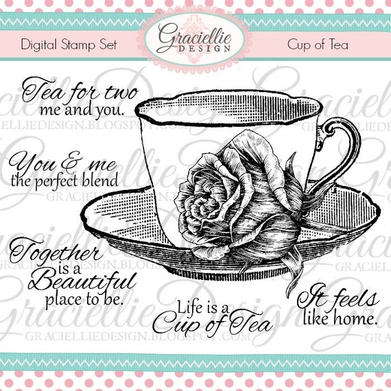 Graciellie Design Cup of Tea digital stamp set