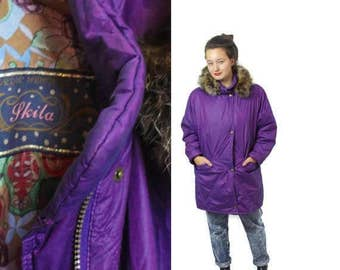 Fur trim parka, Vintage parka, Hooded parka, Purple Parka, Fur trim coat, Parka with hood, Long Hood parka ,Long parka, SKILA / Medium