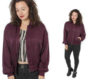 Silk Bomber, Bomber jacket, Burgundy jacket, Floral bomber, Vintage bomber, Patterned bomber, Bomber jacket, 80s bomber jacket / Medium