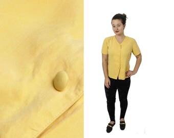 Yellow Silk blouse, Silk shirt, Vintage silk top, Womens blouse, SILK blouse, Short sleeve, Boho top, Yellow shirt, Button up / Medium Large