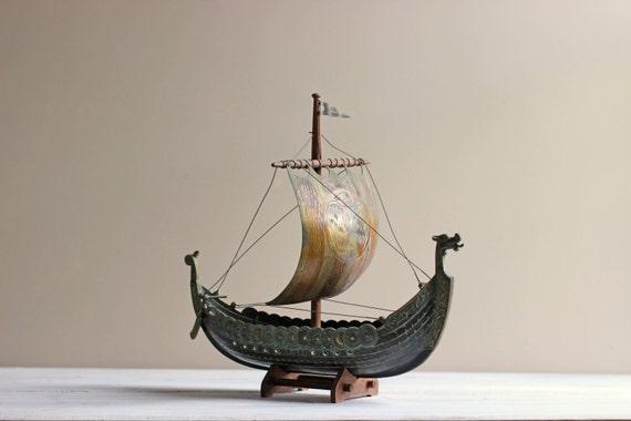 Viking Ship Mid Century Iron Art Copenhagen Denmark Metal