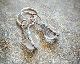 Clear Quartz Earrings, Crystal Jewelry, Australian Made, Unique, Natural, Organic, Earthy, Healing, Empowering, Magical, Original, Wedding.