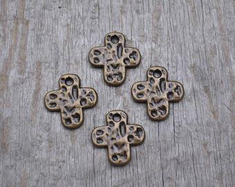 Small Bronze Cross Charm