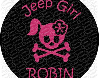 Jeep Girl skull and bones Spare Tire Cover