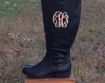 Wide Calf Monogrammed Boots- Preppy Riding Boots- Extended Calf Boots/Front or Side monogram