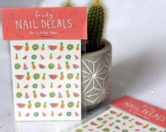 Fruity Waterslide Nail Decals // Watermelon Pineapple Kiwi // Transfers