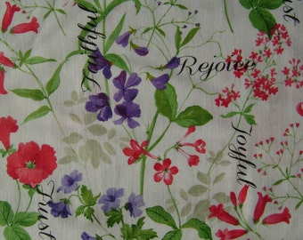 Spring Garden with Words Cotton Fabric sold by the yard