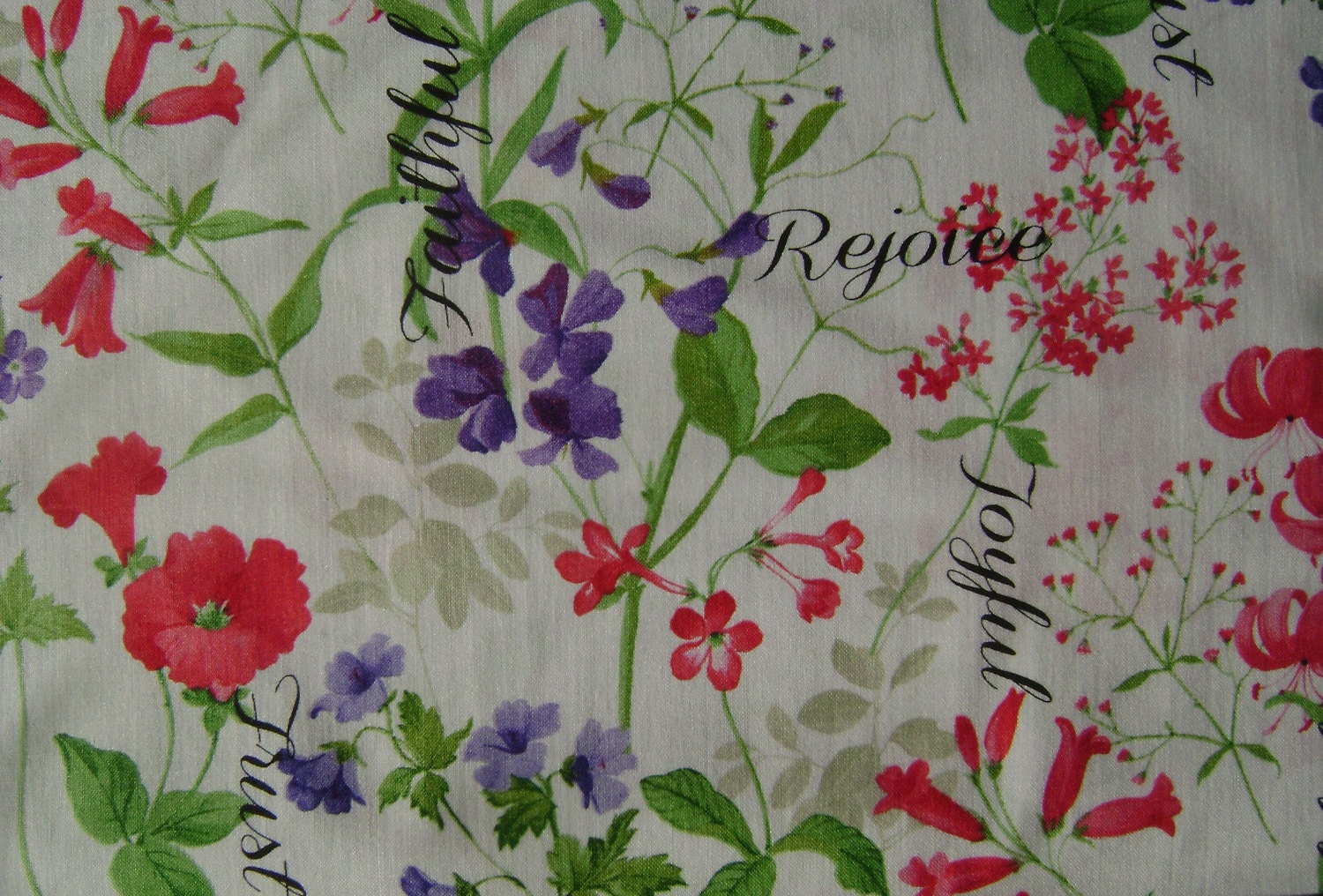 Spring Garden With Words Cotton Fabric Sold By The Yard From GGselections On Etsy Studio