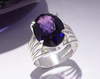 "Violet Gemstone Ring, Vivid Purple Faceted Lab-Made ""Ultra"" Gemstone, Sterling Silver Ring, Large Gemstone Ring, Size 6"